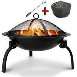 Wood-burning Fire Pit Round Bowl Black Steel Spark Screen With Coverand Fire Fork