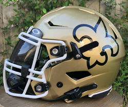 Hand Painted New Orleans Saints Riddell Speedflex Football Helmet And Facemask