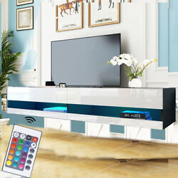 80 Wood High Gloss Led Tv Stand Entertainment Furniture Center Console Cabinet