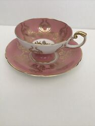 Vintage Aynsley Fine English Bone China Bailey Tea Cup Saucer Pink Gold Flowers