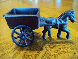 Antique Cast Iron Original Toy Horse And Cart Nice Paint No Breaks