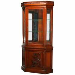 Antique Aesthetic Movement Carved Cherry Faceted And Mirrored Corner Cabinet C1890