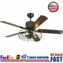 Rustic Edison Industrial Ceiling Fan With Cage Light W/ Remote Control 110v/50hz
