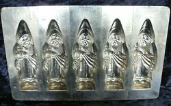 Old Antique Vintage Chocolate Mold Plate 5x Santa-clause / Father Christmas