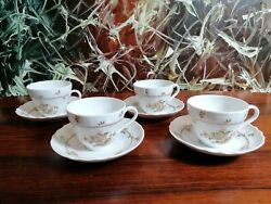 Hutschenreuther Form Dresden Meersburg 4 Classy Coffee Cups With Saucers