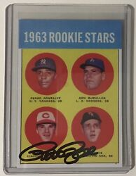 1963 Topps Baseball Pete Rose Rc Reprint 537 Authentic Autograph