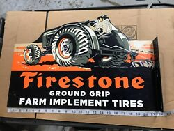 Vintage Firestone Ground Grip Tires + Farm Tractor 12 Metal Gasoline And Oil Sign