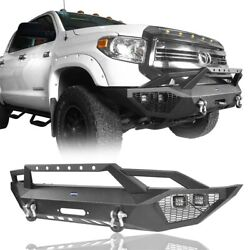 Front Bumper Bar W/led Light And Winch Plate And D-ring For Tundra 20142021 Toyota