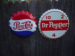 Lot Of 2 X-large 25 Dr Pepper And 22 Pepsi Cola Embossed Metal Bottle Cap Signs