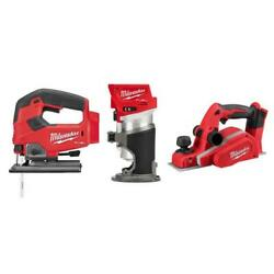 Milwaukee M18 Fuel Cordless Jig Saw Compact Router 3-1/4 Planer 18v 3 Tool Kit