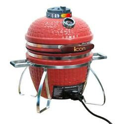 Vision Icon 101 Electric Charcoal Kamado Bbq Grill W Heat Thermometer 1500 W Red