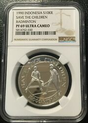 Indonesia 1990 Silver Coin Ngc Pf69uc Save The Child