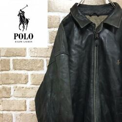 Vintage Polo Jeans Team Racing Heavy Leather Jacket From Japan