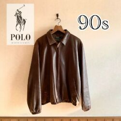 Vintage Polo Jeans Team Racing Heavy Leather Jacket Size L