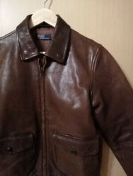 Vintage Polo Jeans Team Racing Heavy Leather Jacket Size S