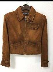 Vintage Polo Jeans Team Racing Heavy Leather Jacket Size M