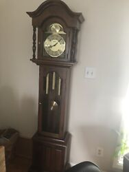 Seth Thomas Tempus Fugit Grandfather Clock Weight Driven Chime Antique