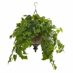 34 London Ivy Artificial Plant In Hanging Bowl Real Touch By Nearly Natural