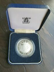 1989 Barbados 50 Dollars Parliament Building Silver Proof Rare Coin In The Case