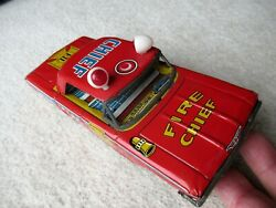 Reduced - Bright Japan Tin Fire Dept Chief Car 7.5. Red. Made In Japan.