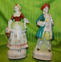 Vintage Victorian Man And Woman Porcelain Figurines Made In Occupied Japan