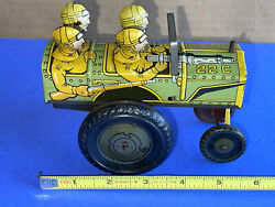 Vintage 1940's Marx Tin Litho Jumping Jeep Wind Up Excellent And Working