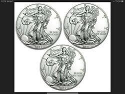 2021 Silver Eagles Type 1 - Lots Of 3 - The Most Valued Us Silver Coin Available