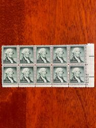 George Washington One 1 Cent Stamp 10 Stamps Attached Plate Us Postage Green