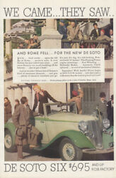 We Came - They Saw And Rome Fell - De Soto Six Roadster Ad 1933 T