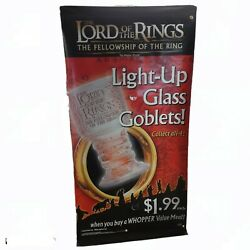 Lord Of The Rings Glass Goblets 2001 Burger King Vinyl Pole Sign Large Banner