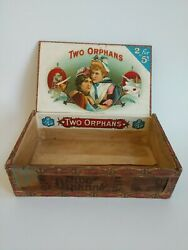 Antique Two Orphans Wood Cigar Box - Va Tax Stamp - 2 For 5andcent - Original Labels