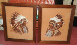 2 Native American Indian Sioux Paintings Chiefs Hollow Horn Bear And Broken Arm
