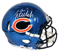 Justin Fields Autographed Chicago Bears Chrome Speed Authentic Helmet Beckett