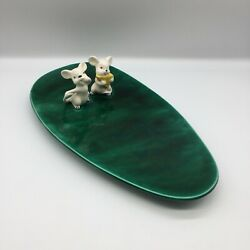 Vintage 1960s Mid Century Ceramic Hand Painted Mice Cheese Tray Serving Platter