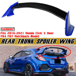 For 17-21 Civic Fk4 Fk7 5dr Hatchback 2 Tone Blue Type R Style Rear Spoiler Wing