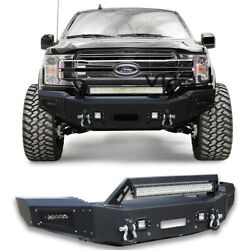 Black Front Bumper W/5xled Lights + Winch Plate+d-rings For 2018-2020 Ford F-150