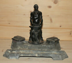 Antique Soviet Russian Hand Made Metal Blacksmith Figurine Double Inkwell
