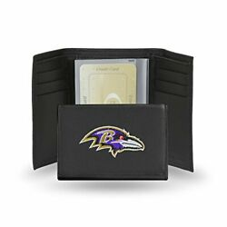 Nfl Baltimore Ravens Embroidered Leather Trifold Wallet