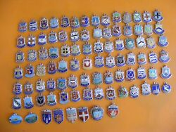 18 Vintage Sterling Silver Charm Charms Uk And Europe Travel Shield