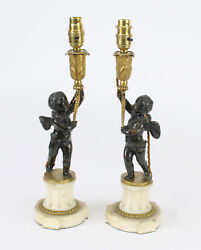 Antique Pair French Ormolu And Patinated Bronze Cherub Table Lamps 19th C