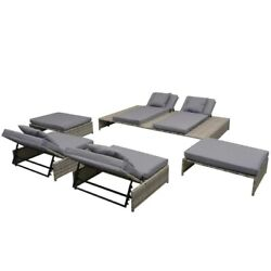 15 Pieces Lounge Set Double Daybed And Sofas Cushions Outdoor Home Sofa Seat Pad