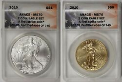 2 Coin Set 2010 American Eagle Silver 1 And Gold 50 Ms 70 Anacs First Strike
