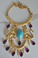 70's Donald Stannard Twin Lions Turquoise Amethyst Lucite Gold Plated Necklace