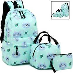 Backpack For School Girls Kids Bookbag Set Water Resistant Bag W Insulated Lunch $35.63
