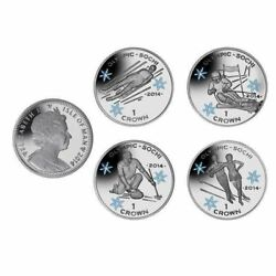 The 2014 Sochi Olympic Coloured Proof Silver Skiing Coin