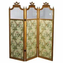 Antique French Empire Giltwood And Beveled Glass 3-panel Dressing Screen 19th C