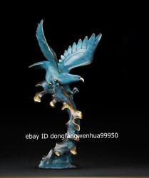 China Copper Bronze Feng Shui Animal Spread The Wings Hawk Eagle Bird Sculpture