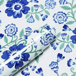 Blue Self Adhesive Contact Paper Floral Peel And Stick Wallpaper Removable Wall