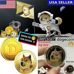 100x Dogecoin Coin Commemorative Collector Coins Gold Plated Doge Coin Wholesale