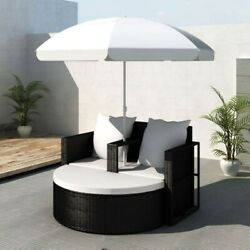 Garden Sofa Day Bed With Parasol Outdoor Patio Poly Rattan Furniture New